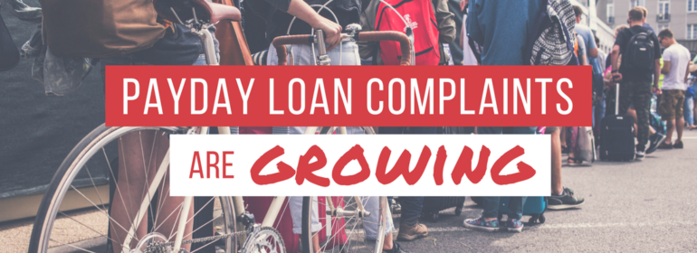 A headline over a photo of a line of students. The headline reads: Payday Loan Complaints are Growing