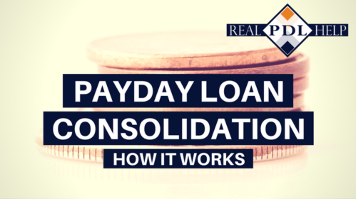 A headline over a picture of a stack of coins. The headline reads: Payday Loan Consolidation, How it Works